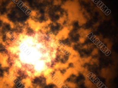 Abstract 3d background - bright flash of explosion