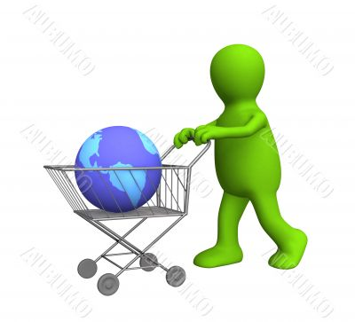 3d puppet, carrying the globe in a market basket