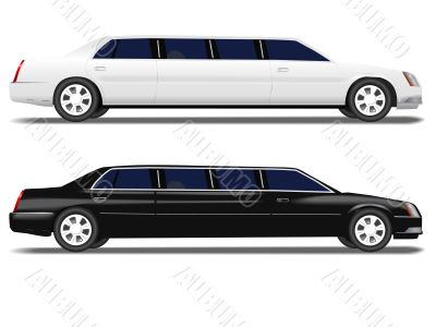 Black Limo and White Limousine