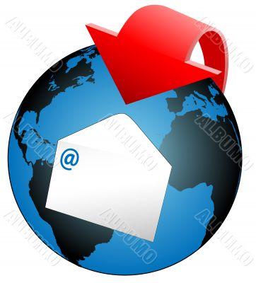 Global World Email Arrow