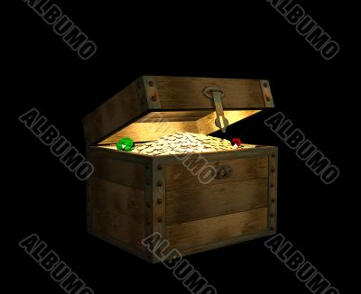 The open wooden 3d chest, filled with treasures