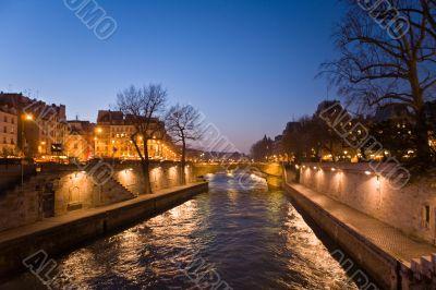 Evening Paris. The river of Sena
