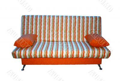 Soft sofa from a fabric in a strip.