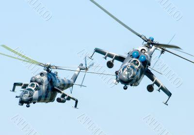Helicopters Mi-24 Gunship in flight.