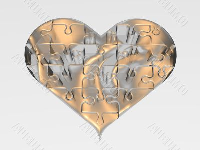 Transparent heart on white background