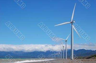 Windfarm in a singl row
