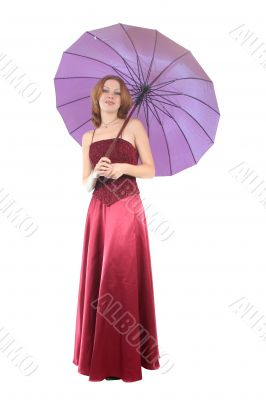woman in red gown, with umbrella