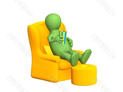 3d puppet, having a rest in a soft armchair