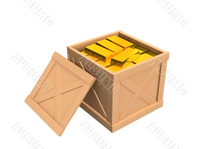 The open parcel, filled with gold ingots