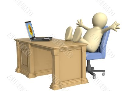 3d person - puppet, thrown foots on office table