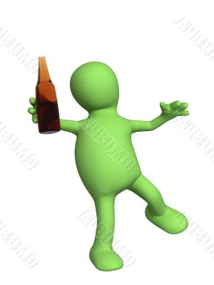Drunk 3d doll - puppet with a bottle