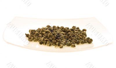dish with green tea