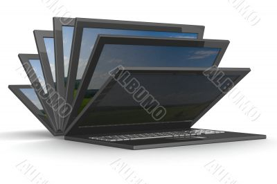 The opening laptop on a white background. 3D image.