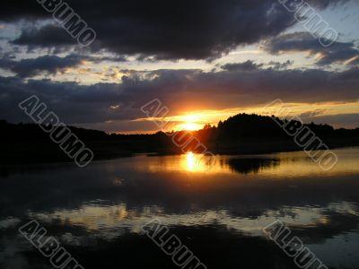 Sundown on river