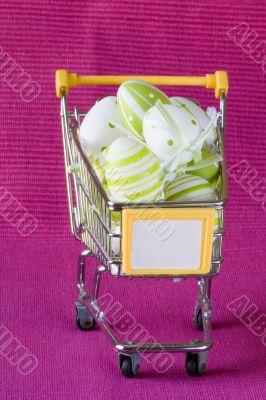 Shopping cart full of easter eggs