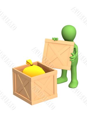 The green 3d person - puppet, opening a sending