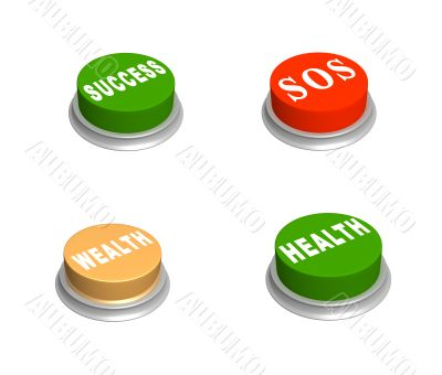 Set 3d buttons - success, wealth, SOS, health