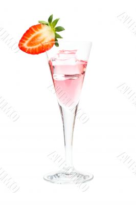 Strawberry cocktail with ice cube