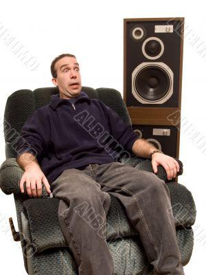 Caucasian Man Listening To Music