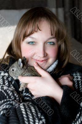 beautiful women and rabbit