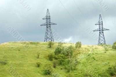 A high-voltage transmission line.