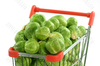 Brussels sprouts in a shopping trolley