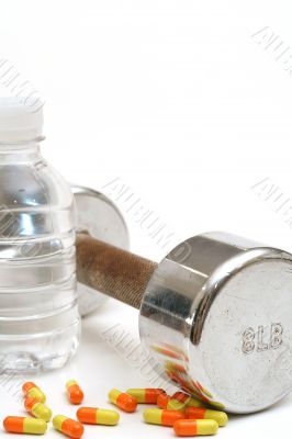 Bottled water fitness weight & vitamins vert