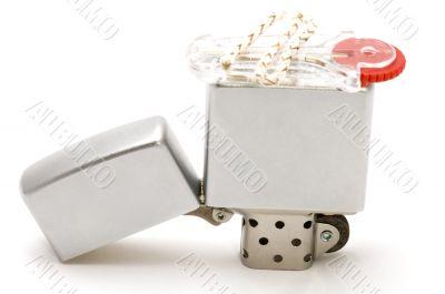 Metal lighter on white background