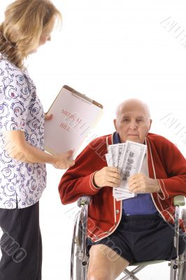 elderly handicap senior paying medical bill