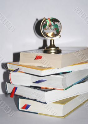 Books with a globe