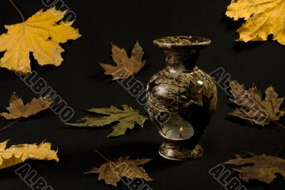 vase on a background of autumn leaves