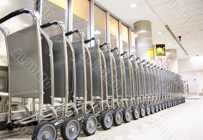Row of luggage carts