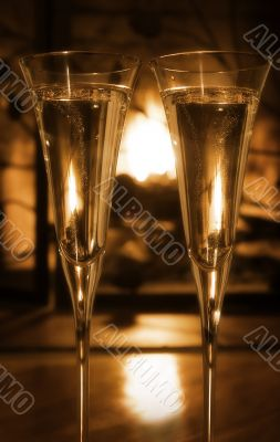 Bubbly champagne by the fire