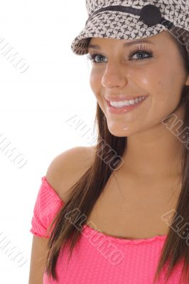 happy model in hat