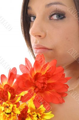 beautiful model with flowers