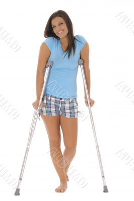 gorgeous brunette on crutches