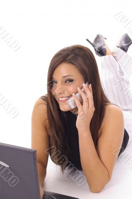 happy latino woman checking email