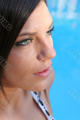 gorgeous girl headshot by pool