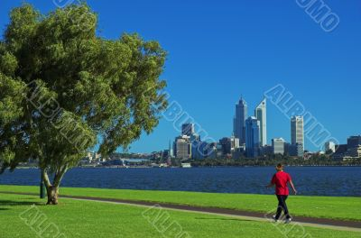 Woman on exercise walk in park in Perth
