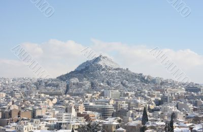Lycabettus hill during winter blizzard