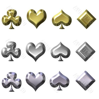Playing card suits in gold silver and chrome