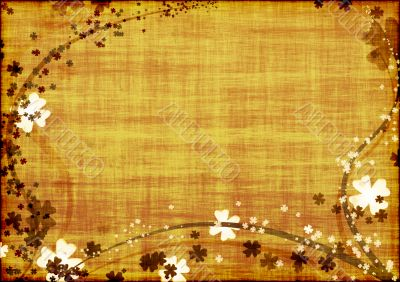 Background with brown lines and leaves clovers