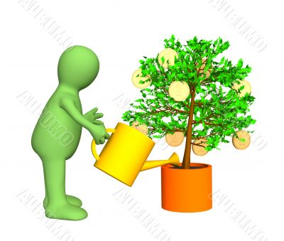 Gardener, watering a tree with growing gold coins
