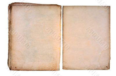 Old torned book open on both blank pages.