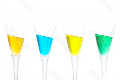 Four glasses with beverages