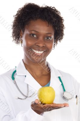 woman doctor and apple