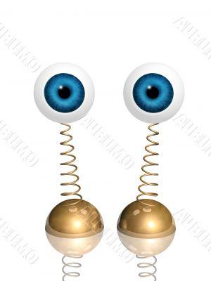 Souvenir - two 3d glass eyes on a spring