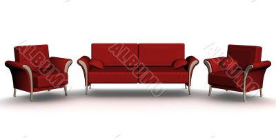 Red leather sofa and two armchairs. An interior. 3D image.