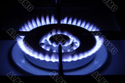 blue fire of the gas burner on neutral