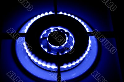 blue fire of the gas burner